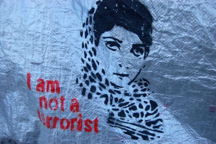 Mural in Betlehem: I am not a terrorist. Fhoto: Taken on May 4, 2007 by Chris Riebschlager. (CC BY-NC 2.0).