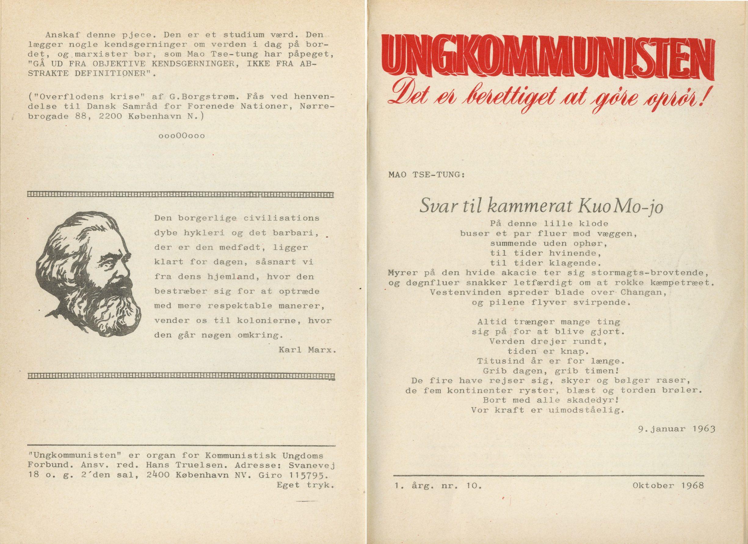 Ungkommunisten1968, nr. 10, For- og Bagside