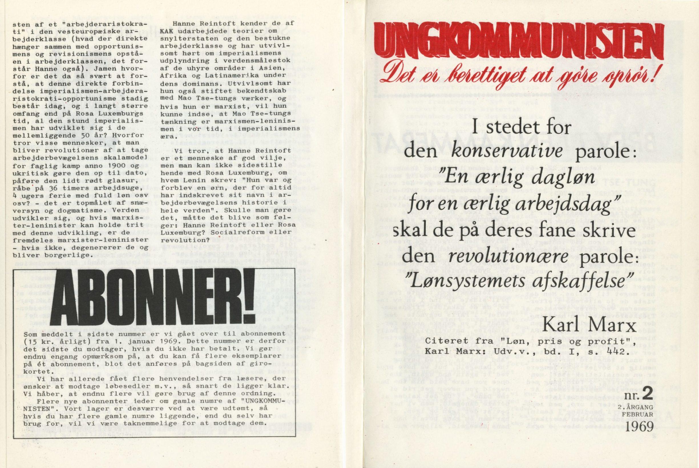 Ungkommunisten1969, nr. 2, For- og Bagside.