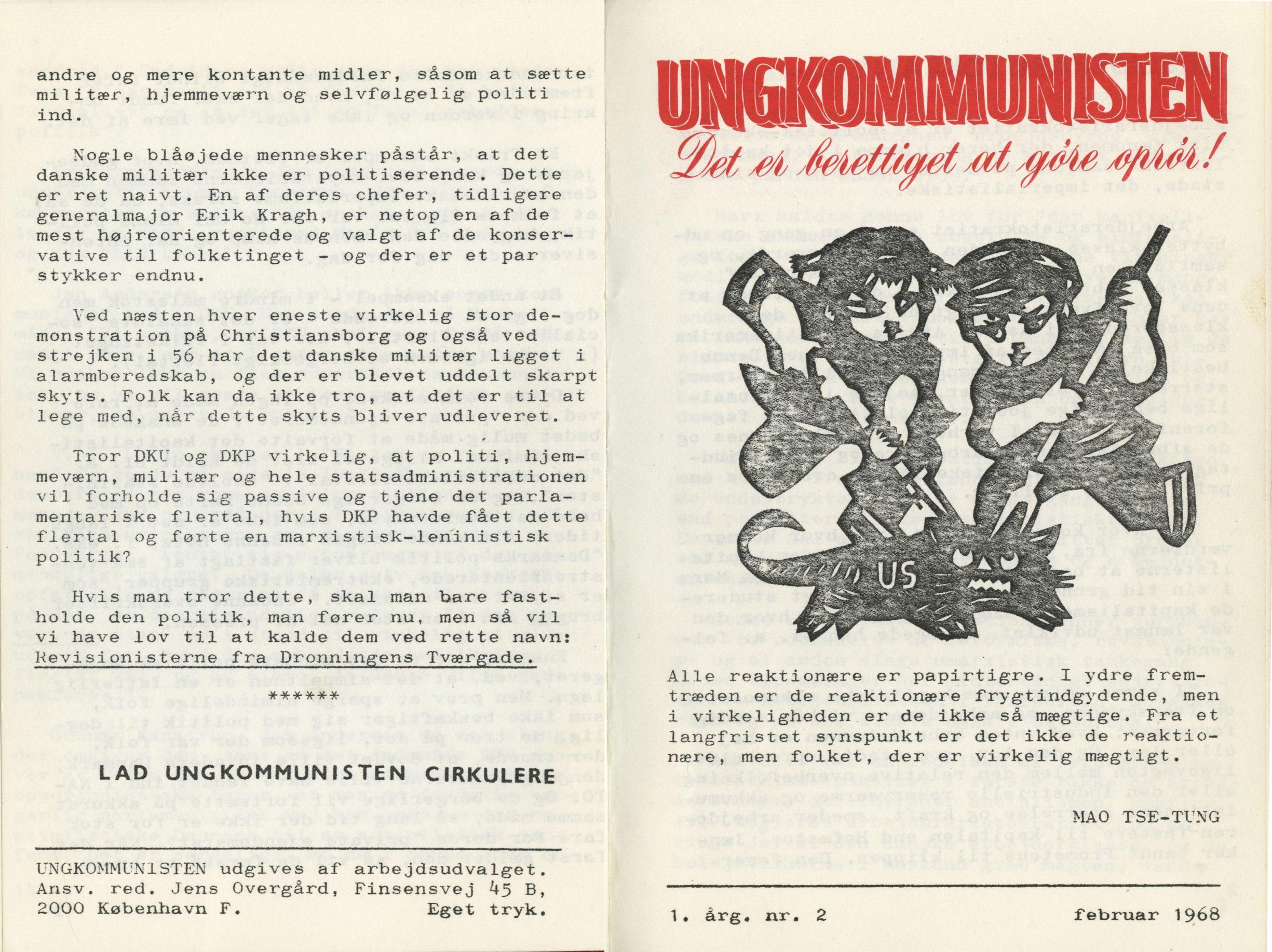 Ungkommunisten 1968 nr. 2, omslag