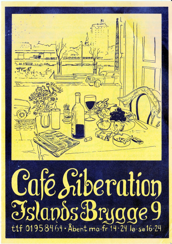 Folder for Café Liberation på Islands Brygge, København ca. 1987.