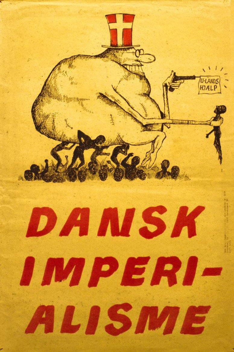 Plakat udgivet af KUF/Den antiimperialistiske Aktionskomite, ca. 1969. Tekst U-landshjælp. Dansk Imperialisme.