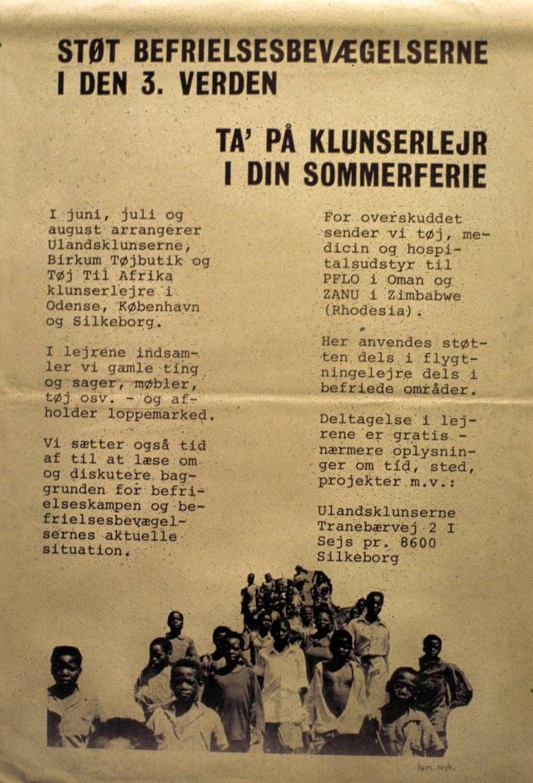 Klunserlejr 1979 arrangeret af Ulandsklunserne Birkum Tøjbutik og TTA