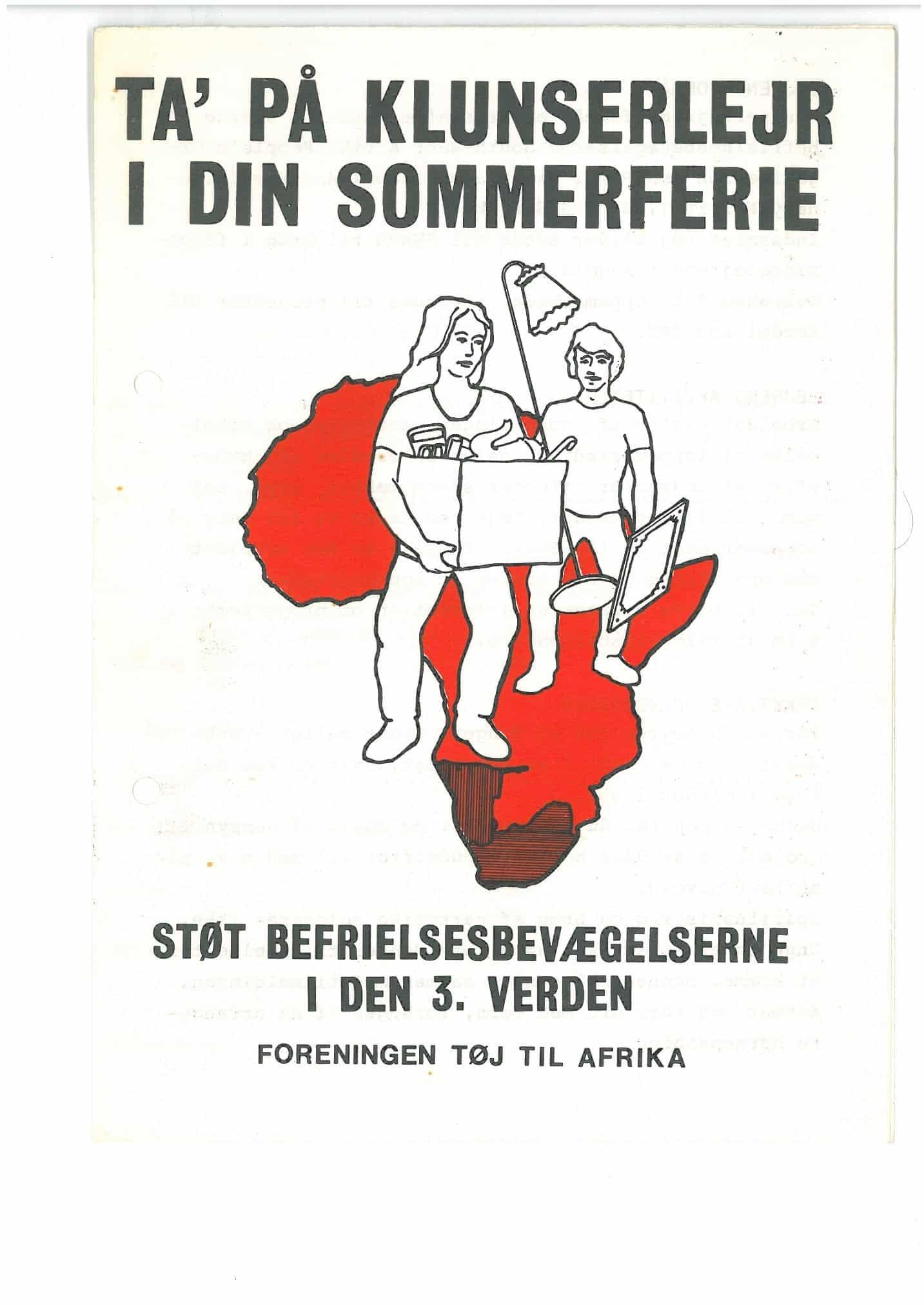 """Tøj til Afrika sommer-lejr. Tekst: I din sommerferie - Støt Befrielsesbevægelserne. Text in English: """"In your Summer-holiday. Support the liberation movements"""