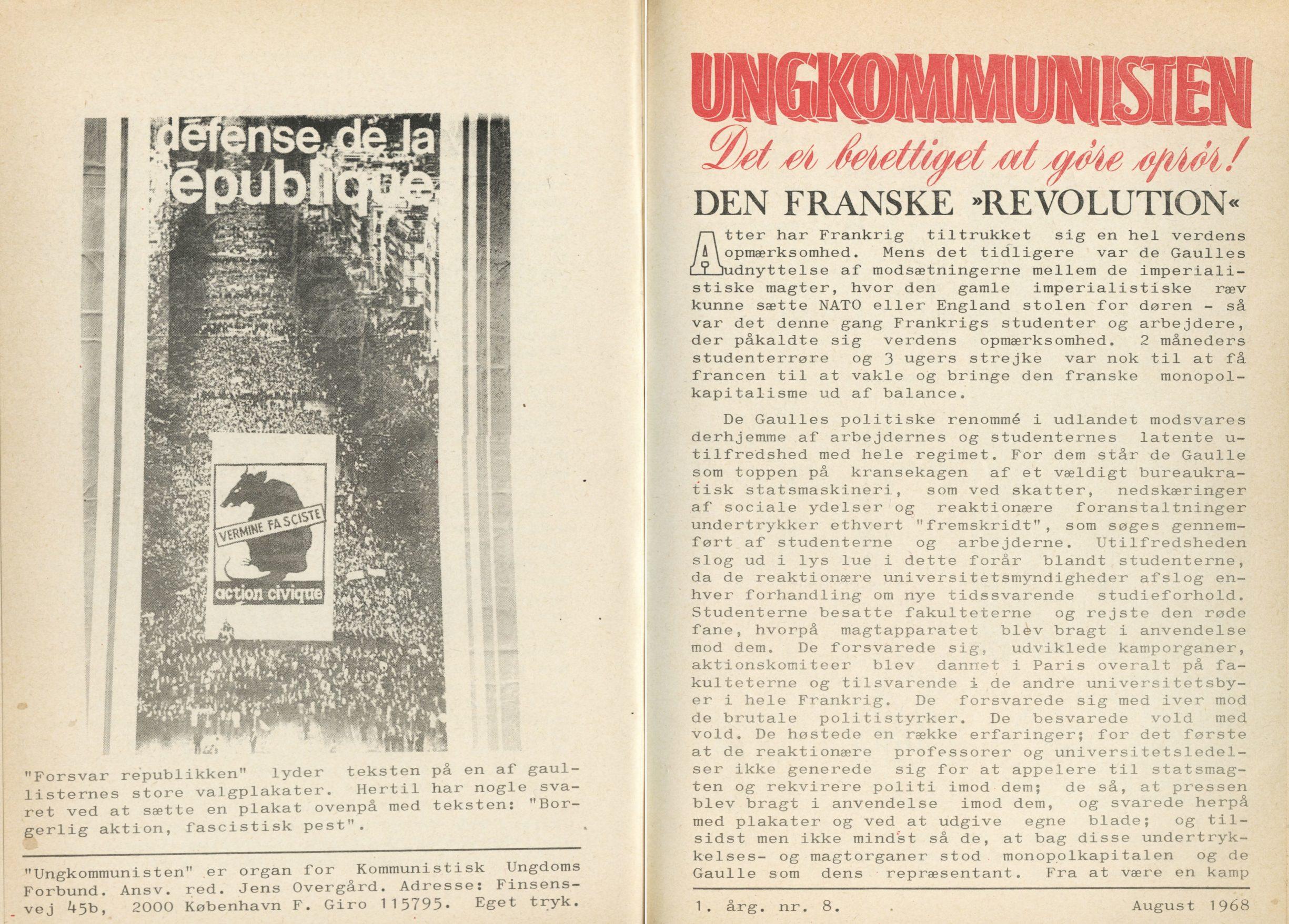 Ungkommunisten1968 nr. 8 For- og Bagside.